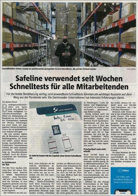 Coronavirus Schnelltests bei Safeline in Dortmund