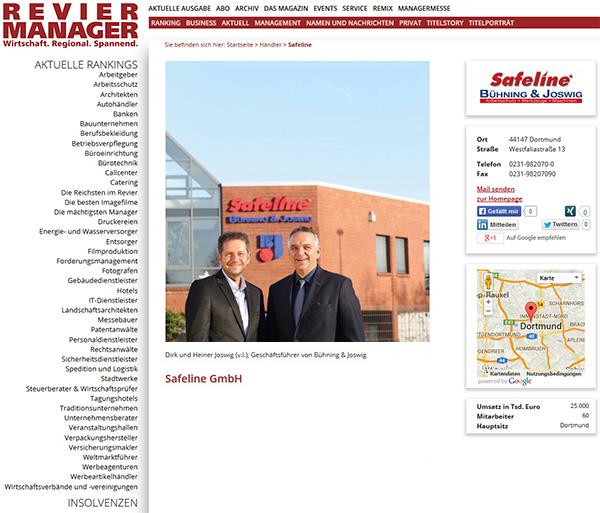 Revier-Manager Magazin Safeline erfolgreicher Technischer Großhandel Dortmund
